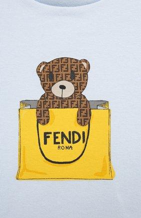 Детский хлопковая футболка FENDI голубого цвета, арт. BUI016/ST8/12M-24M | Фото 3