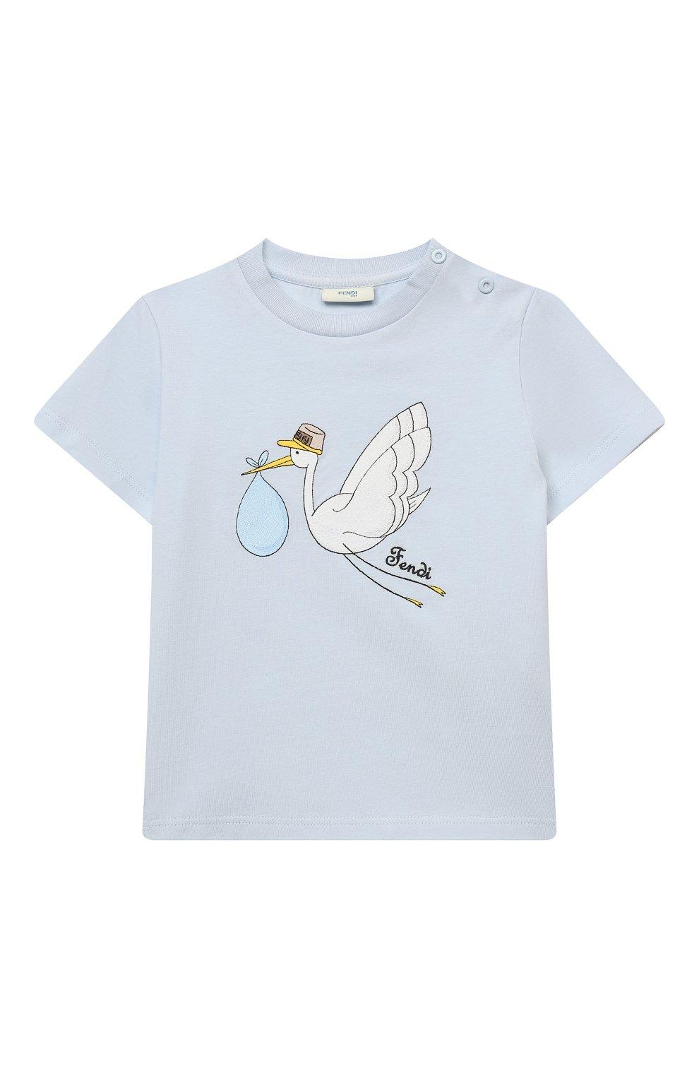Детский хлопковая футболка FENDI голубого цвета, арт. BUI018/ST8/12M-24M | Фото 1