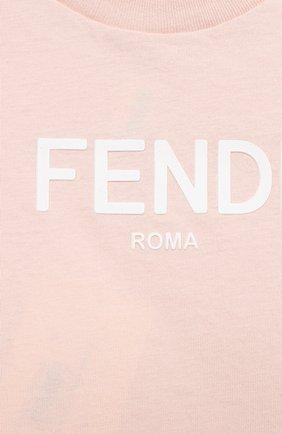 Детский хлопковая футболка FENDI светло-розового цвета, арт. BUI019/AEXL/12M-24M | Фото 3