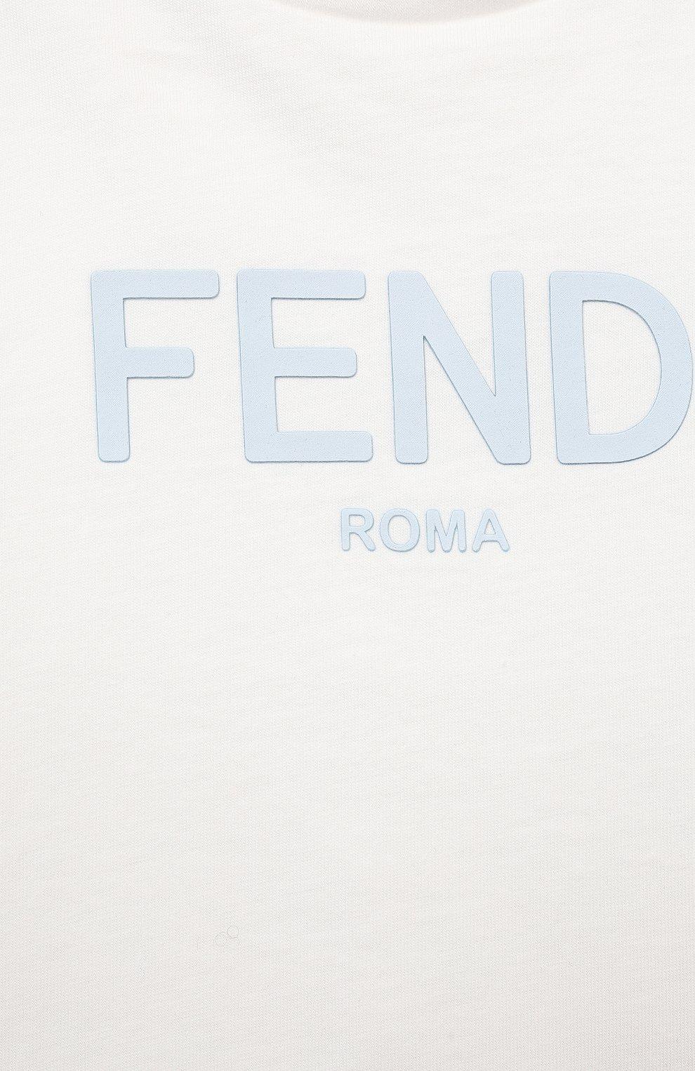 Детский хлопковая футболка FENDI белого цвета, арт. BUI019/AEXL/12M-24M | Фото 3