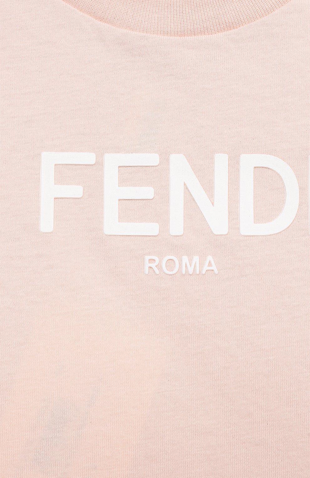 Детский хлопковая футболка FENDI светло-розового цвета, арт. BUI019/AEXL/3M-9M | Фото 3