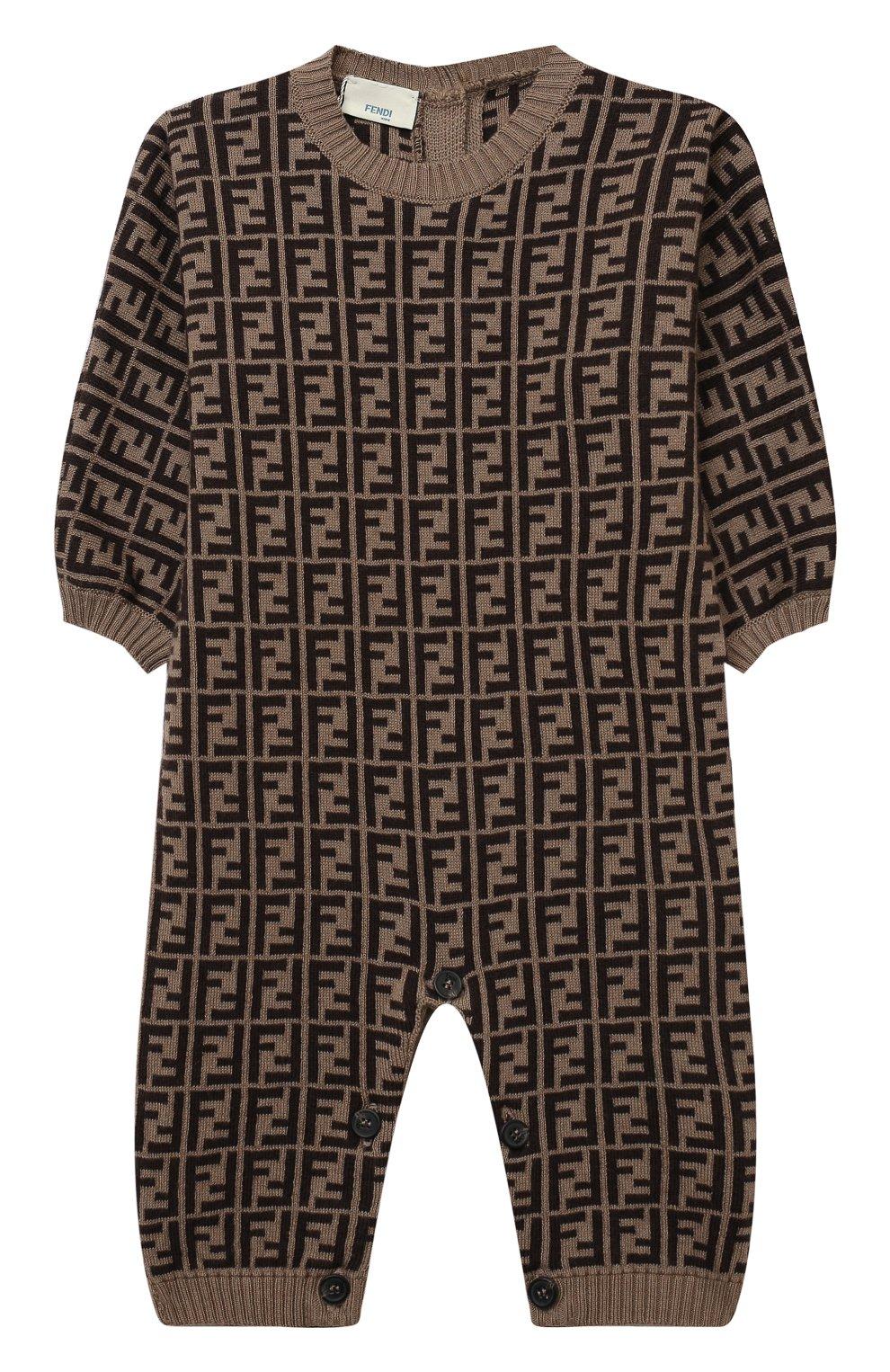 Детский хлопковый комбинезон FENDI коричневого цвета, арт. BUL048/A3TE/3M-9M   Фото 1