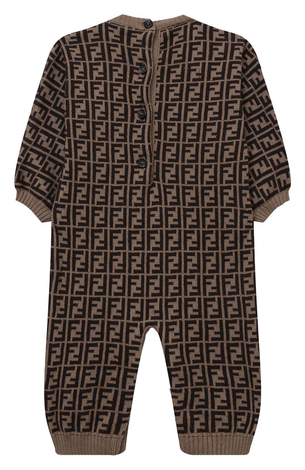 Детский хлопковый комбинезон FENDI коричневого цвета, арт. BUL048/A3TE/3M-9M   Фото 2