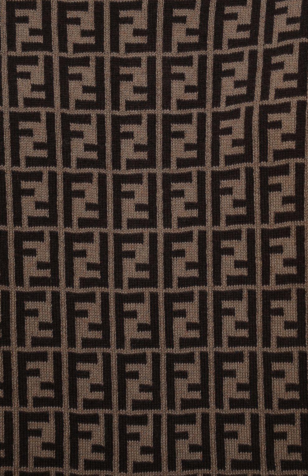 Детский хлопковый комбинезон FENDI коричневого цвета, арт. BUL048/A3TE/3M-9M   Фото 3