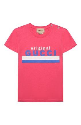 Детская хлопковая футболка GUCCI розового цвета, арт. 561651/XJC7M   Фото 1