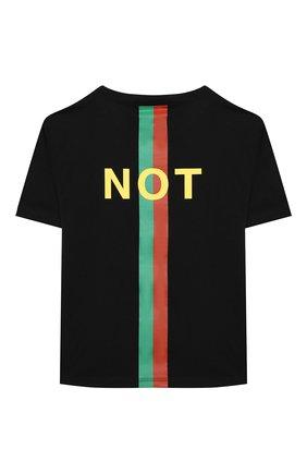 Детская хлопковая футболка GUCCI черного цвета, арт. 586167/XJC7Q   Фото 2