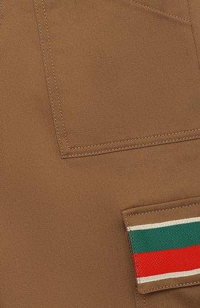 Детские хлопковые джоггеры GUCCI бежевого цвета, арт. 638090/XWAML   Фото 3