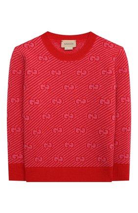 Детский шерстяной пуловер GUCCI красного цвета, арт. 638305/XKBNH   Фото 1