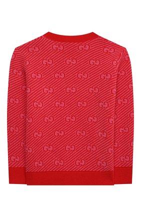 Детский шерстяной пуловер GUCCI красного цвета, арт. 638305/XKBNH   Фото 2