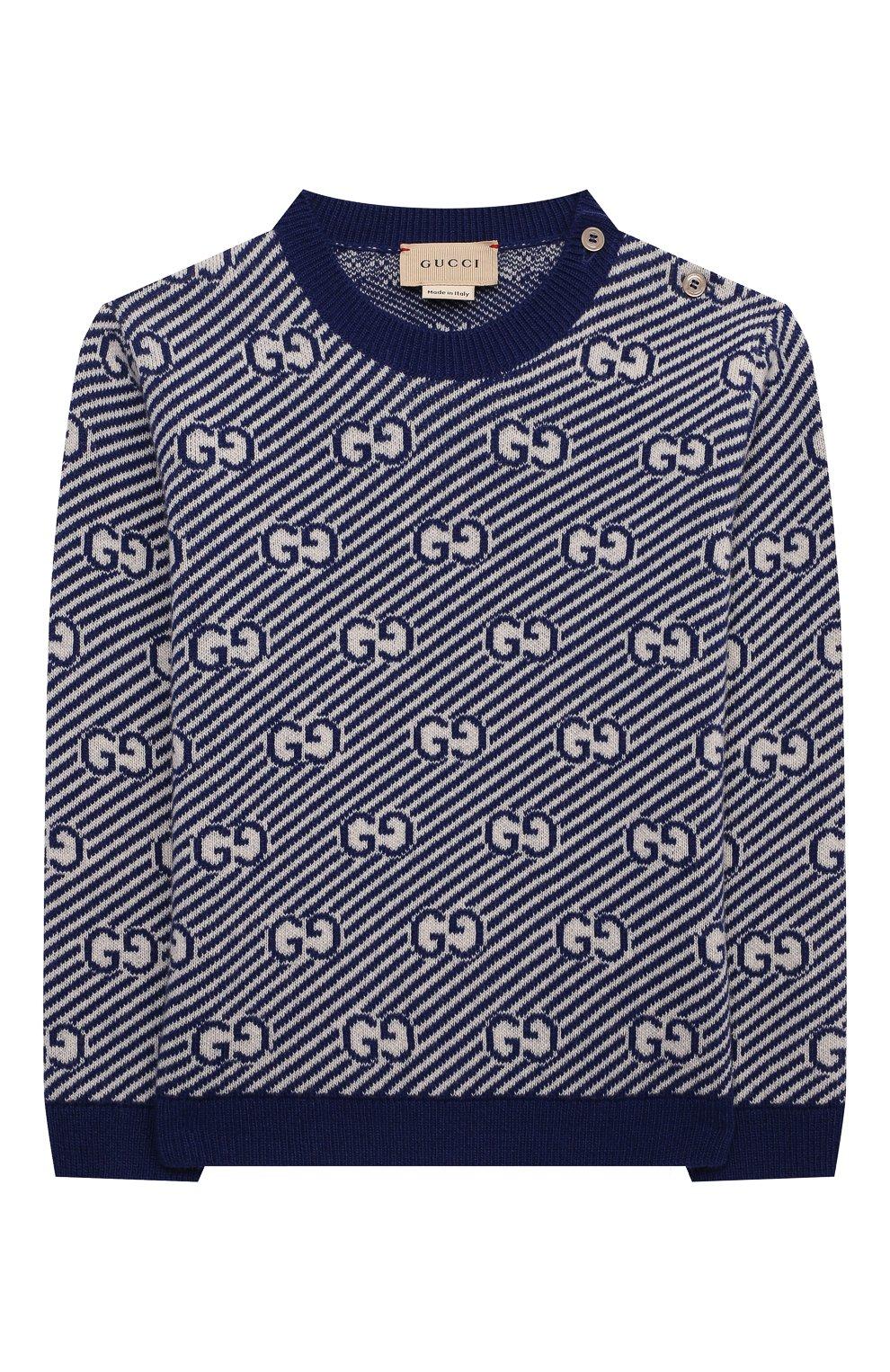 Детский шерстяной пуловер GUCCI синего цвета, арт. 638308/XKBNH | Фото 1