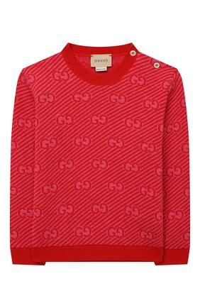 Детский шерстяной пуловер GUCCI красного цвета, арт. 638308/XKBNH | Фото 1