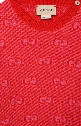 Детский шерстяной пуловер GUCCI красного цвета, арт. 638308/XKBNH | Фото 3