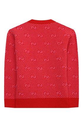 Детский шерстяной кардиган GUCCI красного цвета, арт. 638323/XKBNH   Фото 2