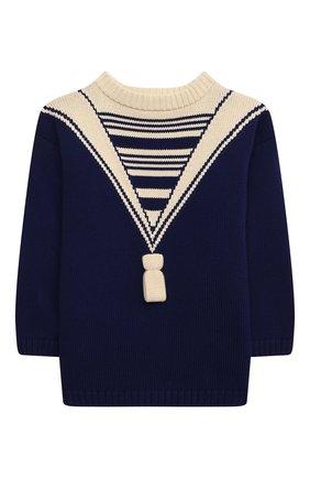Детский хлопковый пуловер GUCCI синего цвета, арт. 642846/XKBQ7   Фото 1