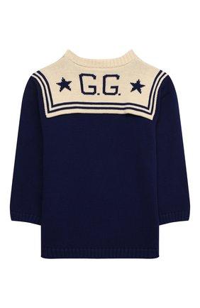 Детский хлопковый пуловер GUCCI синего цвета, арт. 642846/XKBQ7   Фото 2