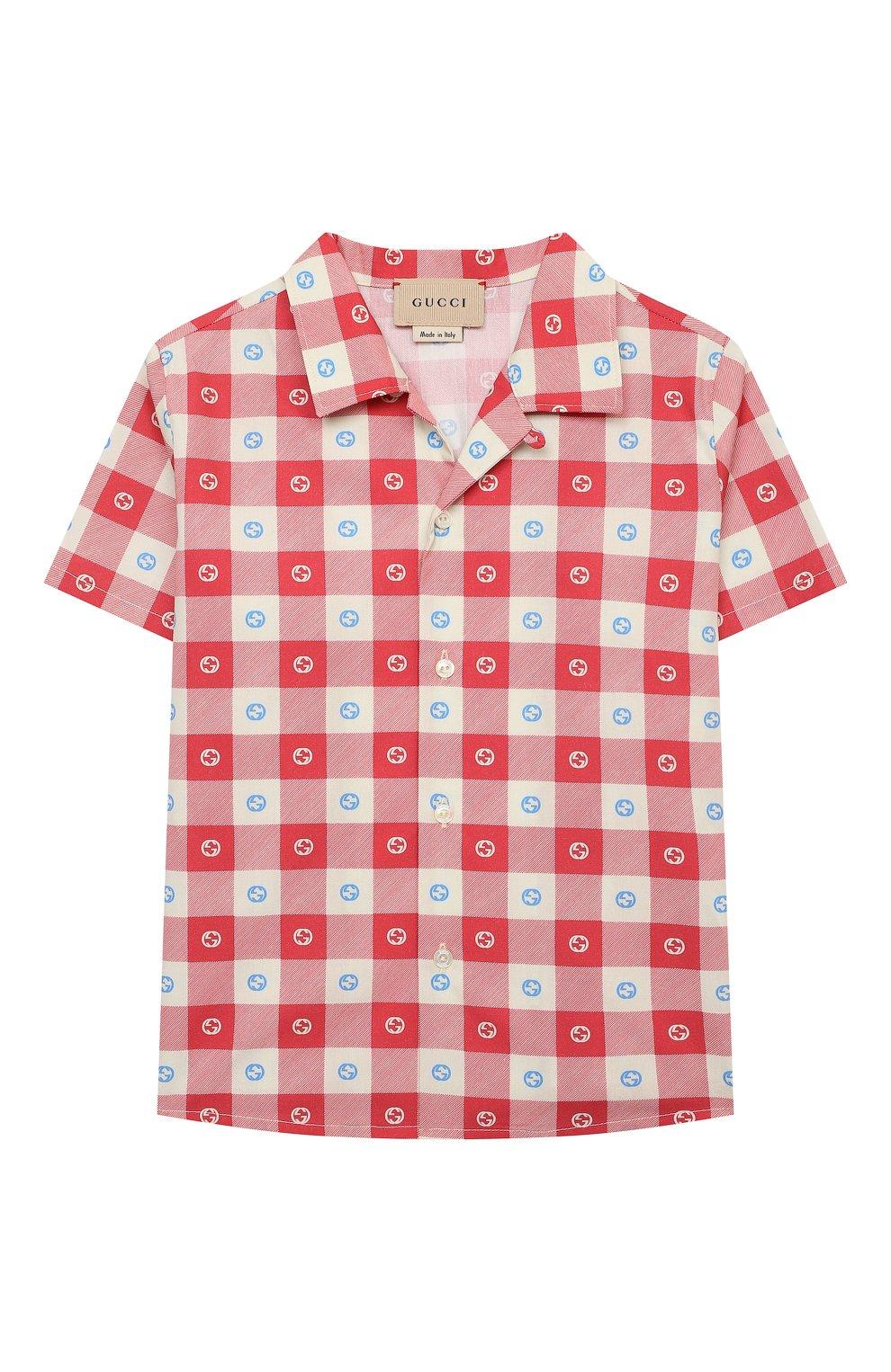 Детский хлопковая рубашка GUCCI разноцветного цвета, арт. 645033/XWA0I | Фото 1