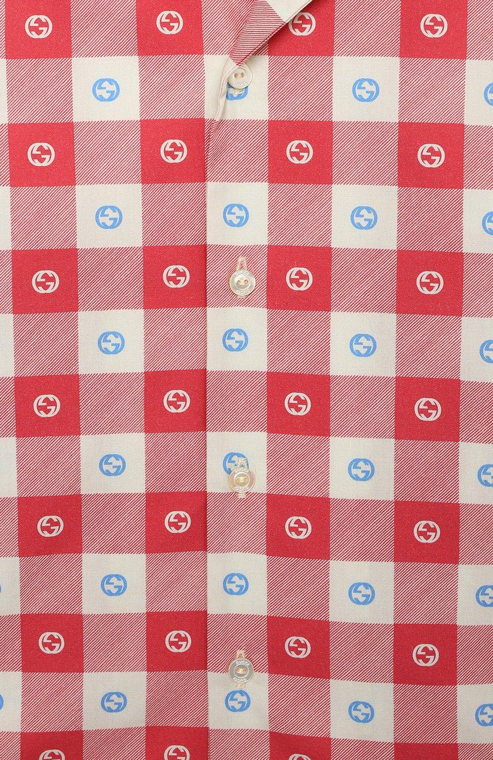 Детский хлопковая рубашка GUCCI разноцветного цвета, арт. 645033/XWA0I | Фото 3