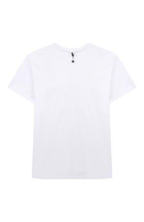 Детская хлопковая футболка NEIL BARRETT KIDS белого цвета, арт. 027903 | Фото 2