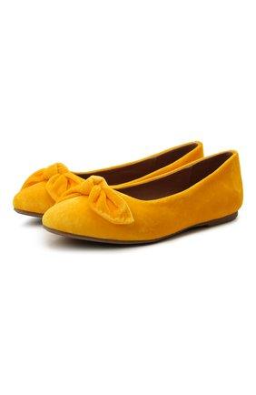 Детские вельветовые балетки AGE OF INNOCENCE желтого цвета, арт. 000206/P0PPY/32-38 | Фото 1 (Материал внутренний: Натуральная кожа; Материал внешний: Текстиль)
