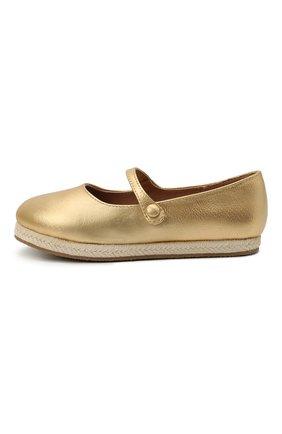 Детские кожаные балетки AGE OF INNOCENCE золотого цвета, арт. 000235/HAILEY/25-31 | Фото 2 (Материал внутренний: Натуральная кожа)