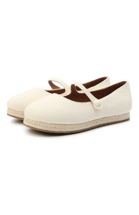 Детские кожаные балетки AGE OF INNOCENCE белого цвета, арт. 000235/HAILEY/32-38 | Фото 1 (Материал внутренний: Натуральная кожа)