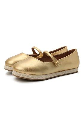 Детские кожаные балетки AGE OF INNOCENCE золотого цвета, арт. 000235/HAILEY/32-38 | Фото 1 (Материал внутренний: Натуральная кожа)