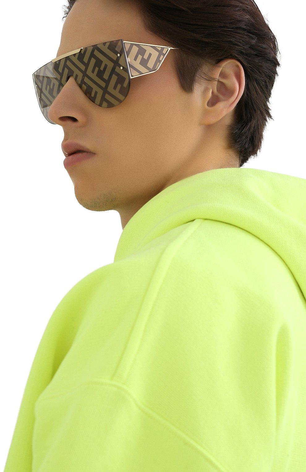 Женские солнцезащитные очки FENDI золотого цвета, арт. M0093 J5G | Фото 3
