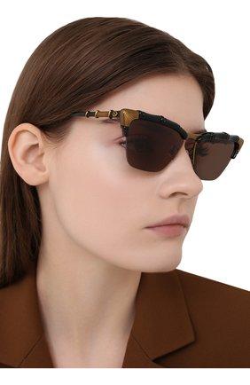 Женские солнцезащитные очки GUCCI коричневого цвета, арт. GG0660S 001   Фото 2