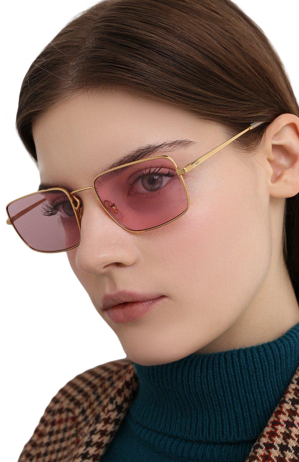 Женские солнцезащитные очки RAY-BAN розового цвета, арт. 3669-001/Q3 | Фото 2