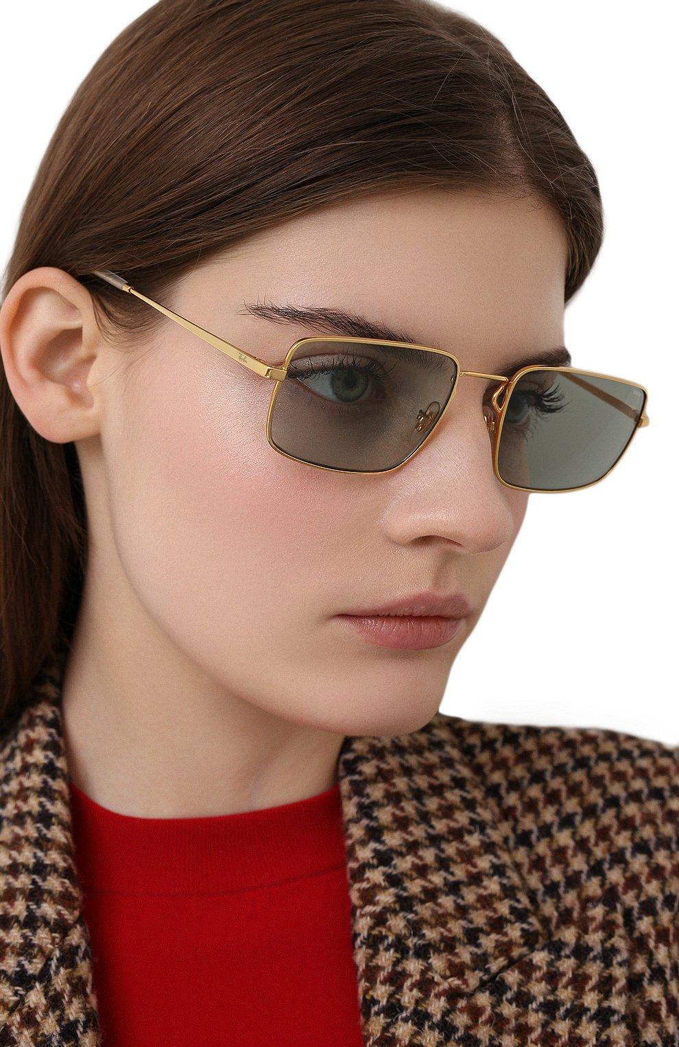 Женские солнцезащитные очки RAY-BAN бирюзового цвета, арт. 3669-001/Q5 | Фото 2