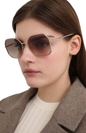 Женские солнцезащитные очки PRADA золотого цвета, арт. 52WS-ZVN4K0 | Фото 2 (Тип очков: С/з; Оптика Гендер: оптика-женское; Очки форма: Квадратные)