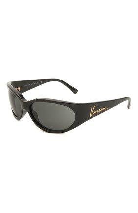 Женские солнцезащитные очки VERSACE черного цвета, арт. 4386-GB1/87 | Фото 1