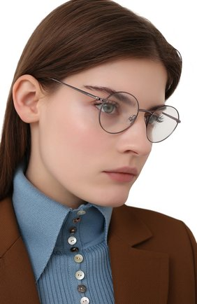 Женские оправа TOM FORD серебряного цвета, арт. TF5503 008 | Фото 2 (Тип очков: Оправа; Оптика Гендер: оптика-унисекс; Очки форма: Круглые)