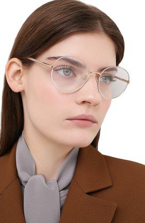 Женские оправа PRADA бежевого цвета, арт. 55WV-06I101   Фото 2 (Тип очков: Оправа; Очки форма: Круглые; Оптика Гендер: оптика-женское)