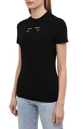 Женская хлопковая футболка PROENZA SCHOULER WHITE LABEL черного цвета, арт. WL2114226-JC144 | Фото 3