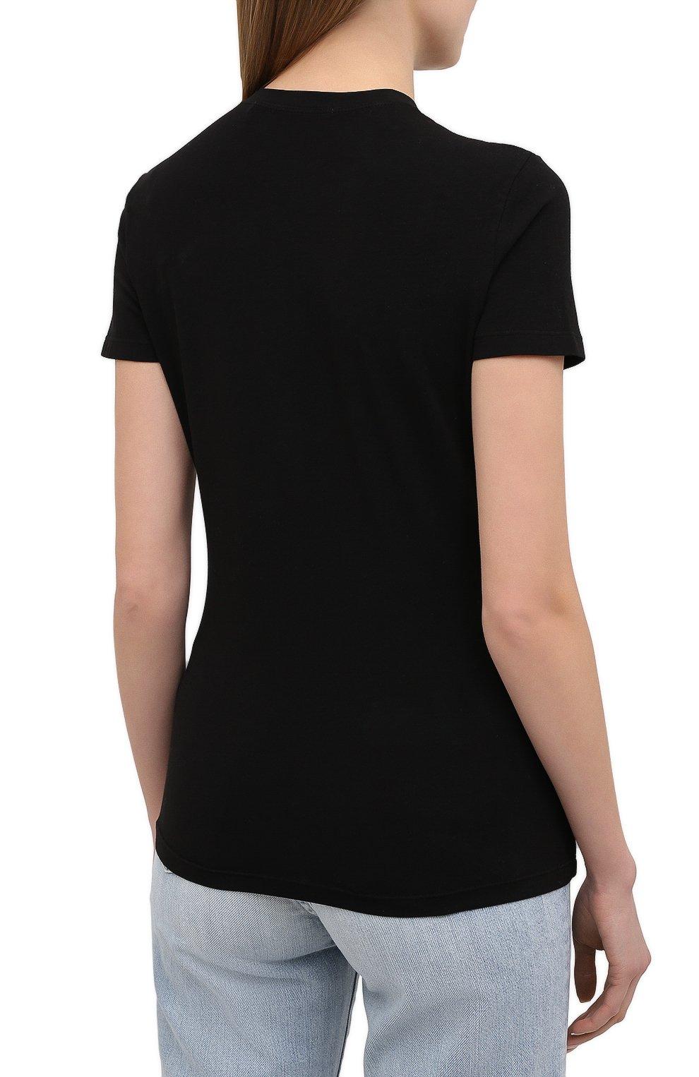 Женская хлопковая футболка PROENZA SCHOULER WHITE LABEL черного цвета, арт. WL2114226-JC144 | Фото 4