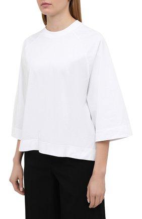 Женская хлопковая футболка GANNI белого цвета, арт. T2724 | Фото 3