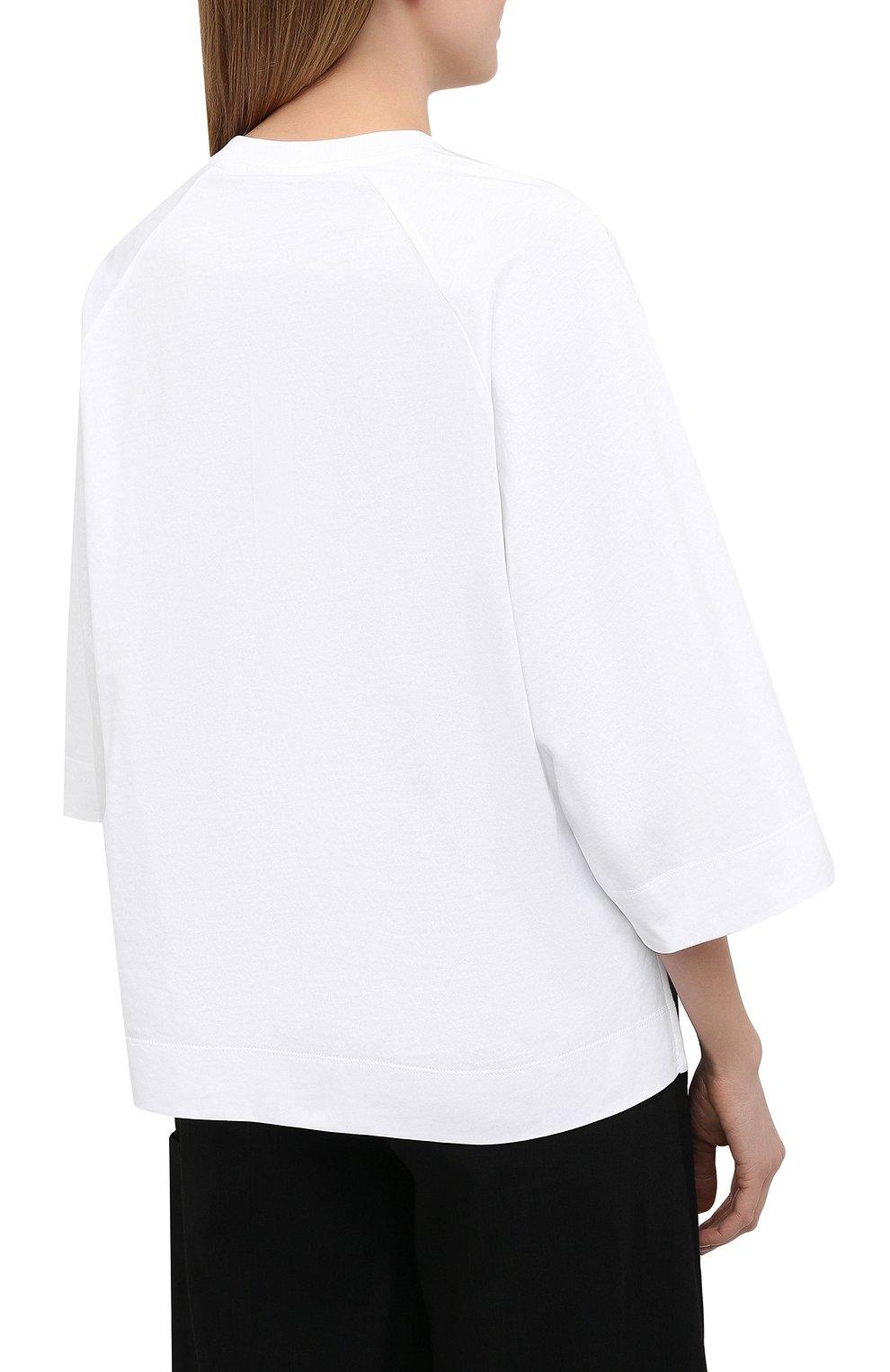 Женская хлопковая футболка GANNI белого цвета, арт. T2724 | Фото 4