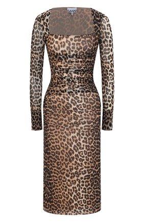 Женское платье GANNI леопардового цвета, арт. T2718 | Фото 1