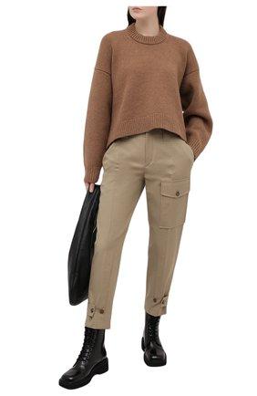 Женские хлопковые брюки CHLOÉ бежевого цвета, арт. CHC21SPA41047 | Фото 2