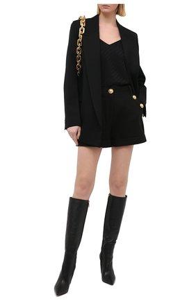 Женские хлопковые шорты BALMAIN черного цвета, арт. VF15010/C208 | Фото 2