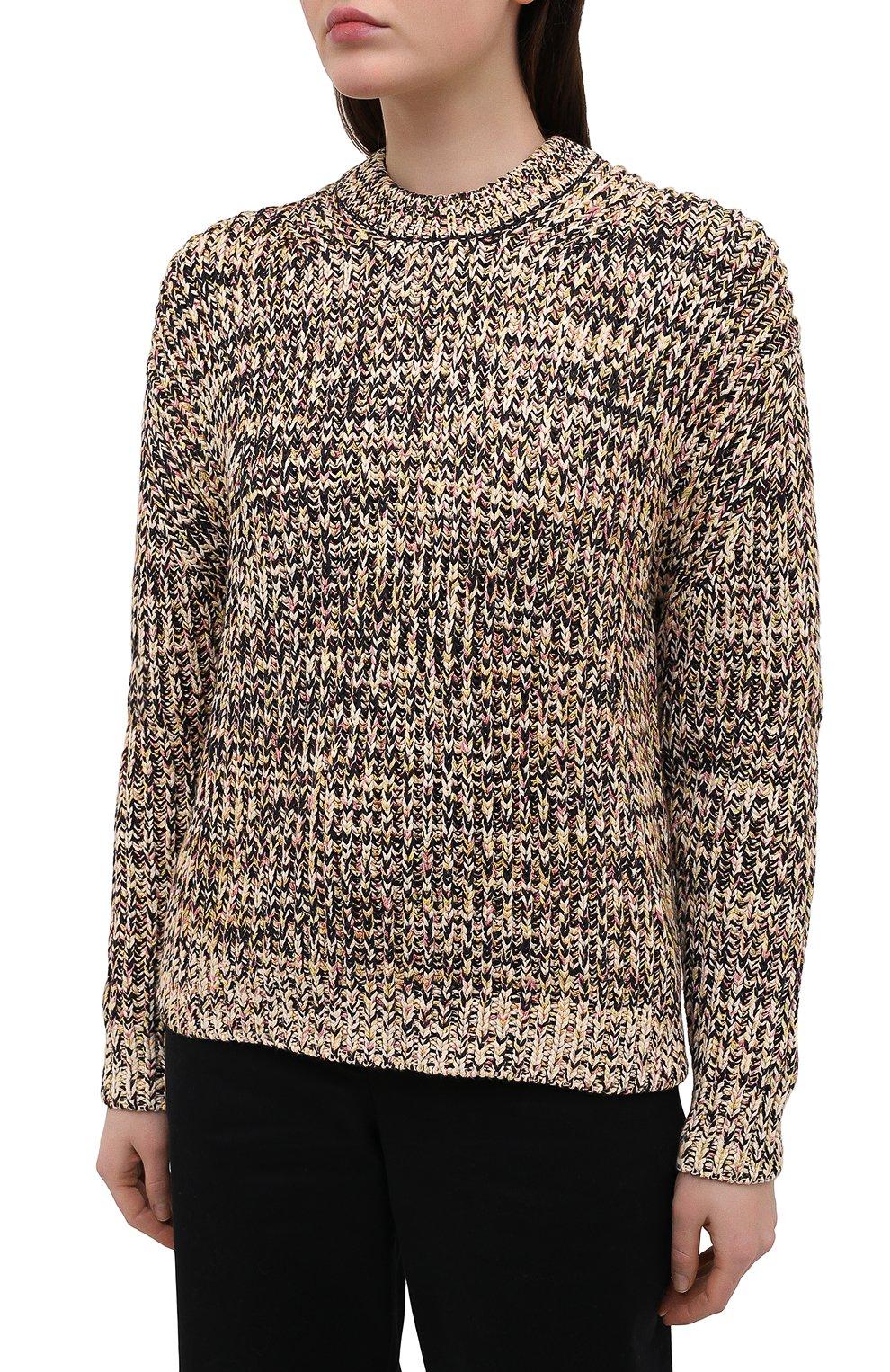 Женский свитер из хлопка и вискозы PROENZA SCHOULER WHITE LABEL бежевого цвета, арт. WL2117566-KC084 | Фото 3