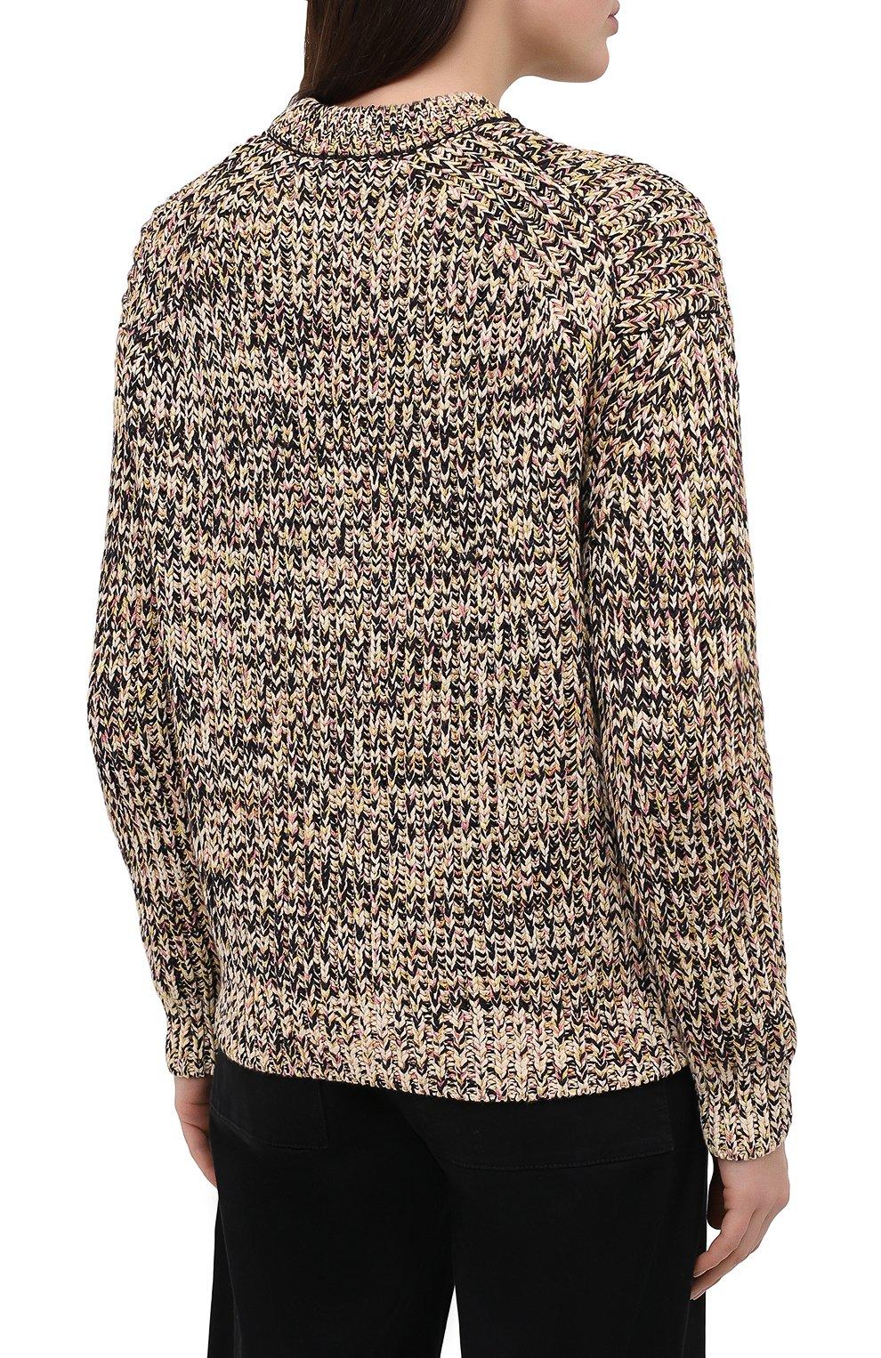 Женский свитер из хлопка и вискозы PROENZA SCHOULER WHITE LABEL бежевого цвета, арт. WL2117566-KC084 | Фото 4