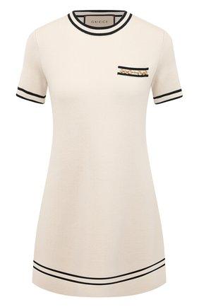 Женское шерстяное платье GUCCI бежевого цвета, арт. 650387/XKBNZ   Фото 1