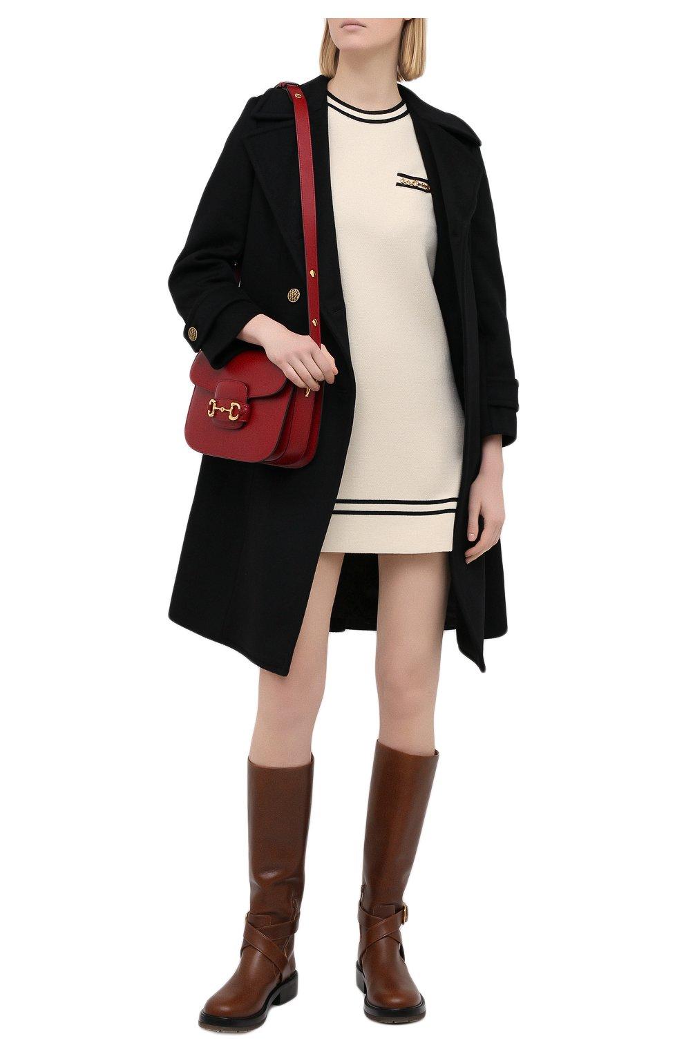 Женское шерстяное платье GUCCI бежевого цвета, арт. 650387/XKBNZ   Фото 2 (Материал внешний: Шерсть; Стили: Гламурный; Длина Ж (юбки, платья, шорты): Мини; Рукава: Короткие; Случай: Повседневный; Кросс-КТ: Трикотаж)