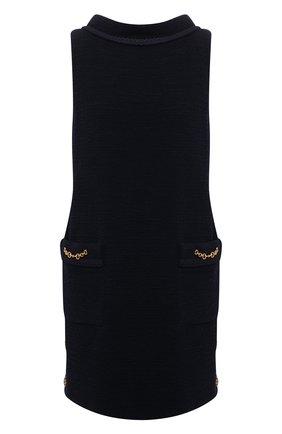 Женское шерстяное платье GUCCI темно-синего цвета, арт. 652725/ZAF5U | Фото 1 (Материал подклада: Синтетический материал; Длина Ж (юбки, платья, шорты): Мини; Стили: Гламурный; Рукава: Короткие; Материал внешний: Шерсть; Кросс-КТ: Трикотаж; Случай: Повседневный)
