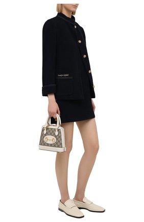 Женское шерстяное платье GUCCI темно-синего цвета, арт. 652725/ZAF5U | Фото 2 (Материал подклада: Синтетический материал; Длина Ж (юбки, платья, шорты): Мини; Стили: Гламурный; Рукава: Короткие; Материал внешний: Шерсть; Кросс-КТ: Трикотаж; Случай: Повседневный)