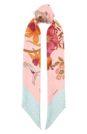 Женский шелковый шарф GUCCI розового цвета, арт. 583480/3G001   Фото 1