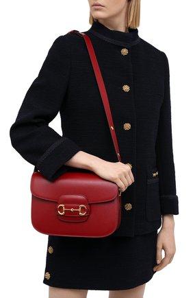 Женская сумка 1955 horsebit GUCCI красного цвета, арт. 602204/1DB0G | Фото 2 (Ремень/цепочка: На ремешке; Материал: Натуральная кожа; Сумки-технические: Сумки через плечо)