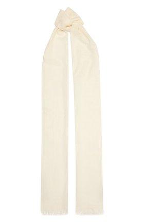 Женский шарф из шерсти и шелка GUCCI белого цвета, арт. 640680/3GG01   Фото 1